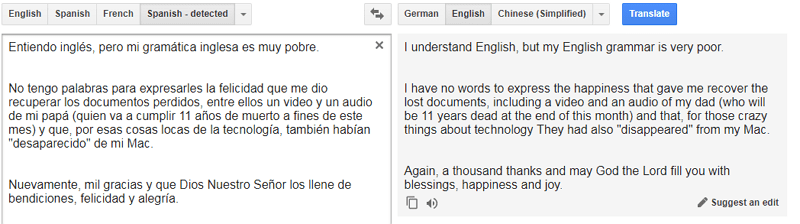 translation of a user review