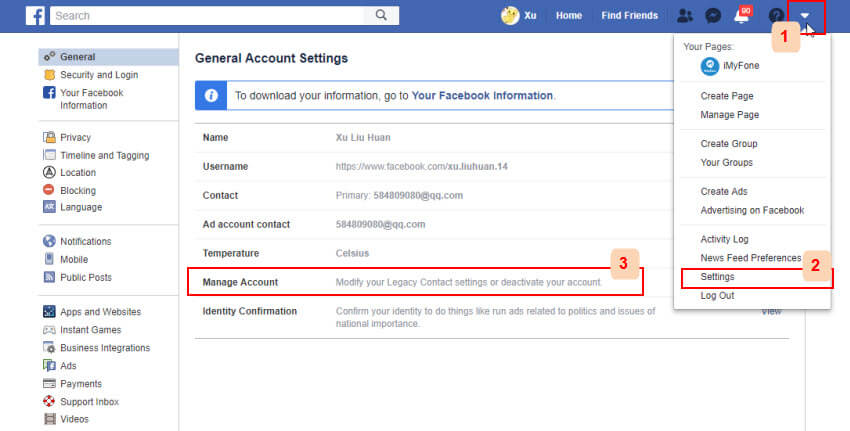 deactivate facebook account turtorial step 1