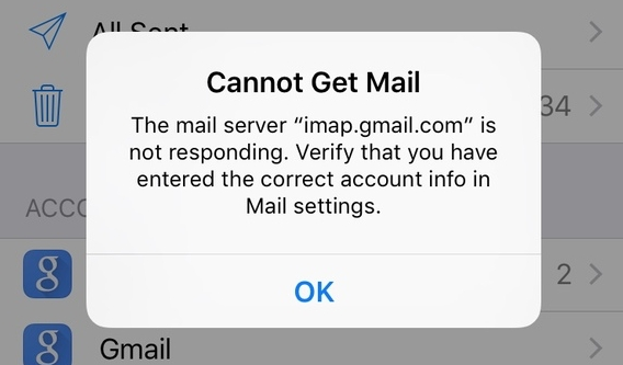 cannot get mail error message on ipad
