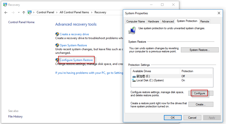 Enable System Restore Tool
