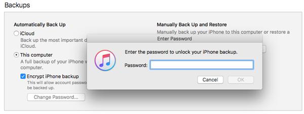 關閉iTunes備份加密
