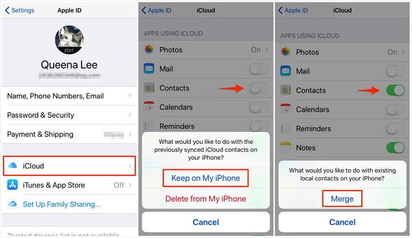 merge contacts via icloud