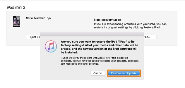 iTunes has detected an iPad in recovery mode