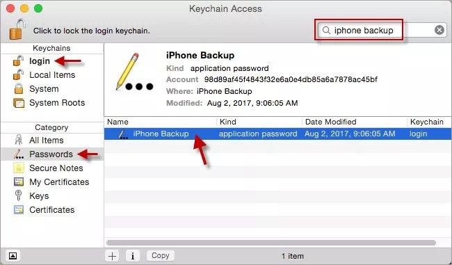 選擇iPhone備份
