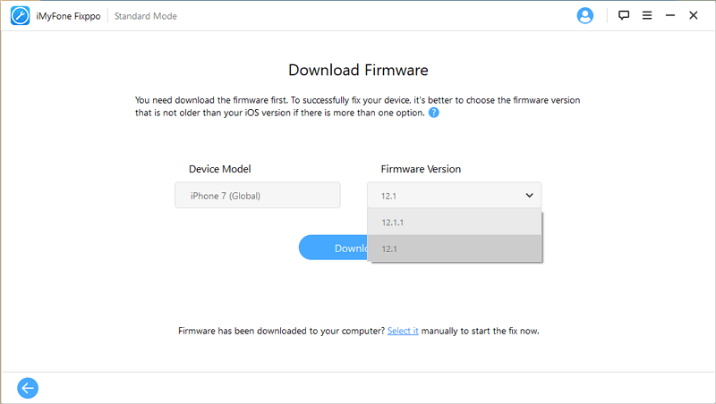 download firmware interface
