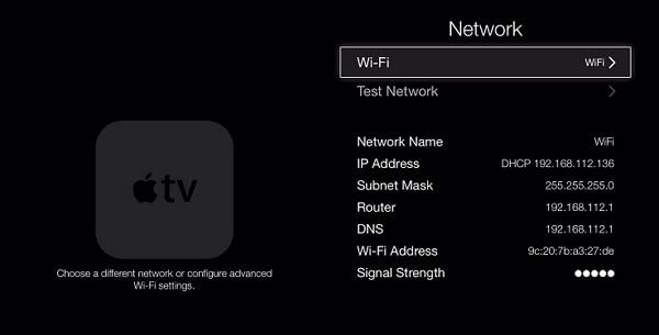 change apple tv network settings