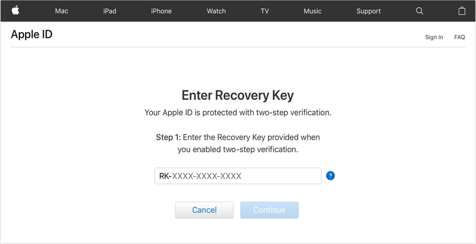 Enter your recovery key