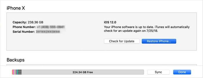 iTunes factory reset iphone
