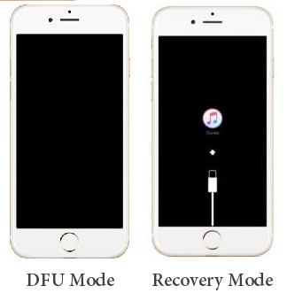 the interfaces of DFU mode and recovery mode
