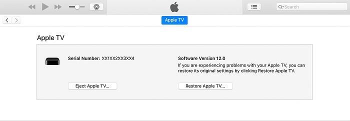iTunes restore apple tv to factory settings