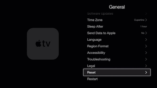 apple tv reset all settings