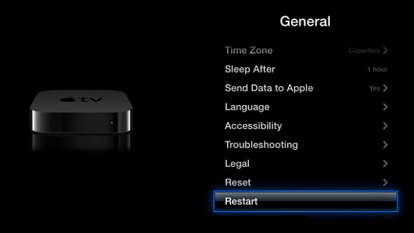restart apple tv from settings