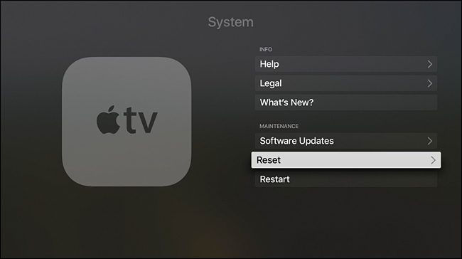reset apple tv 4k