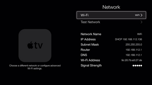 test network settings on apple tv