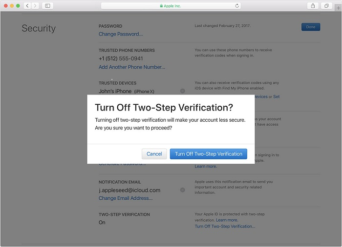 remove two-step verification