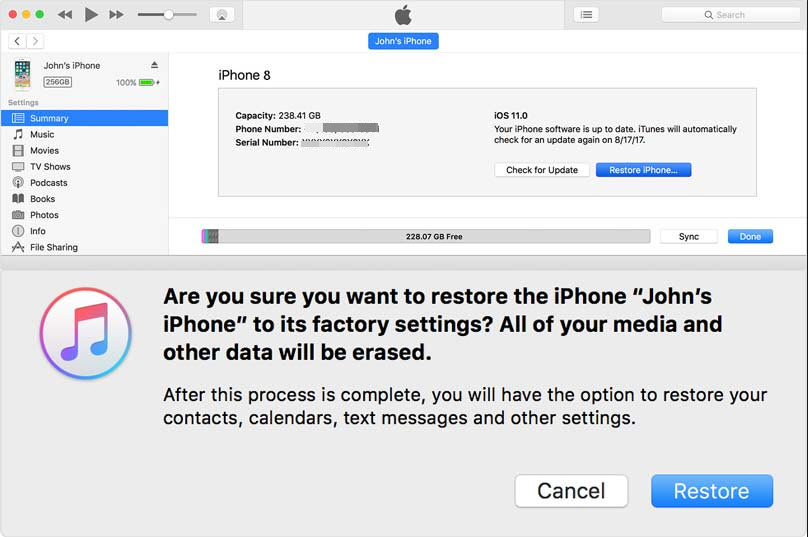 restore iphone from itunes