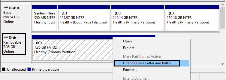 assign new drive letter
