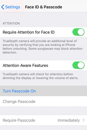 set passcode on iPhone X settings
