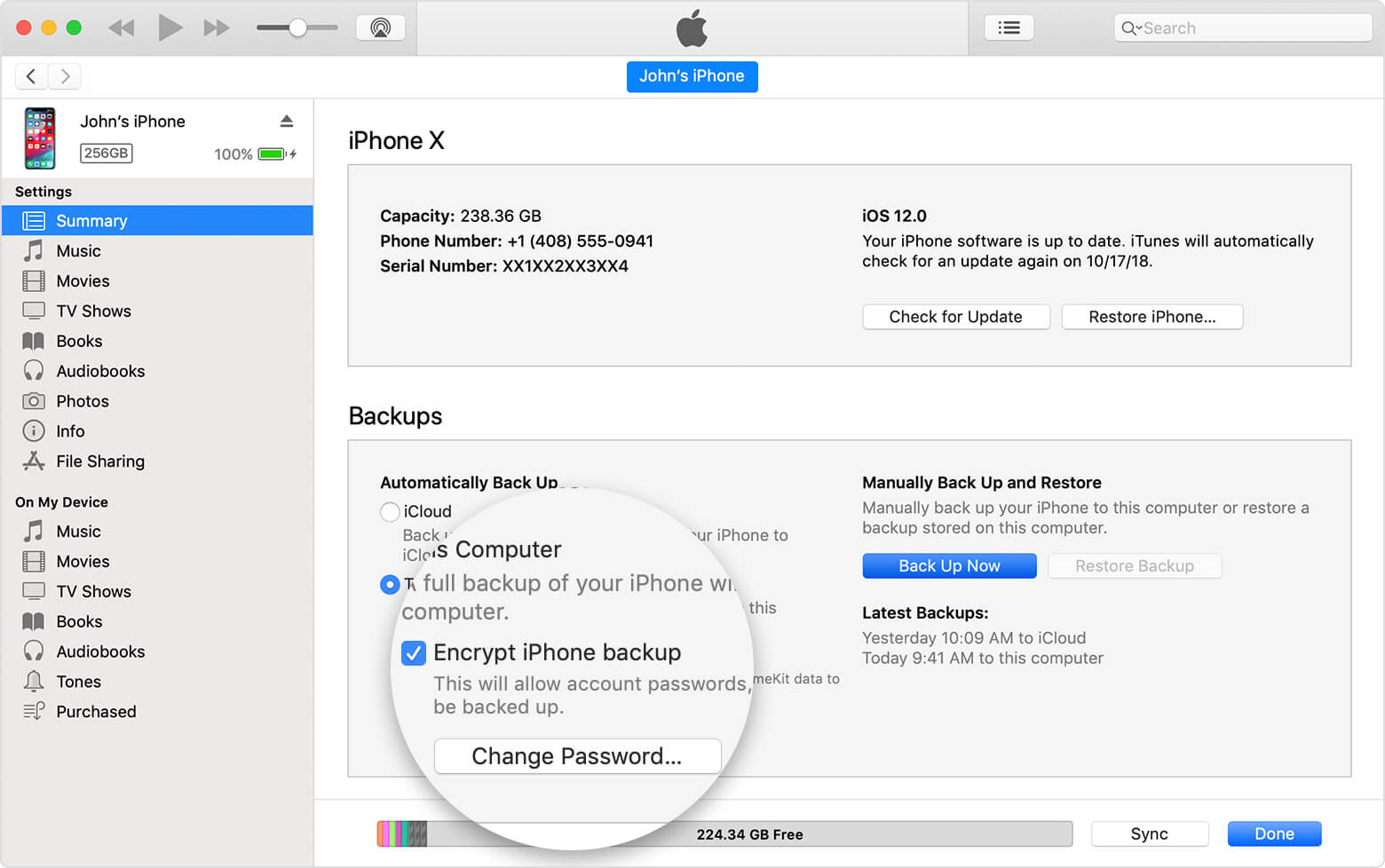 itunes encrypt backup password