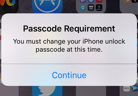 passcode requirement iphone