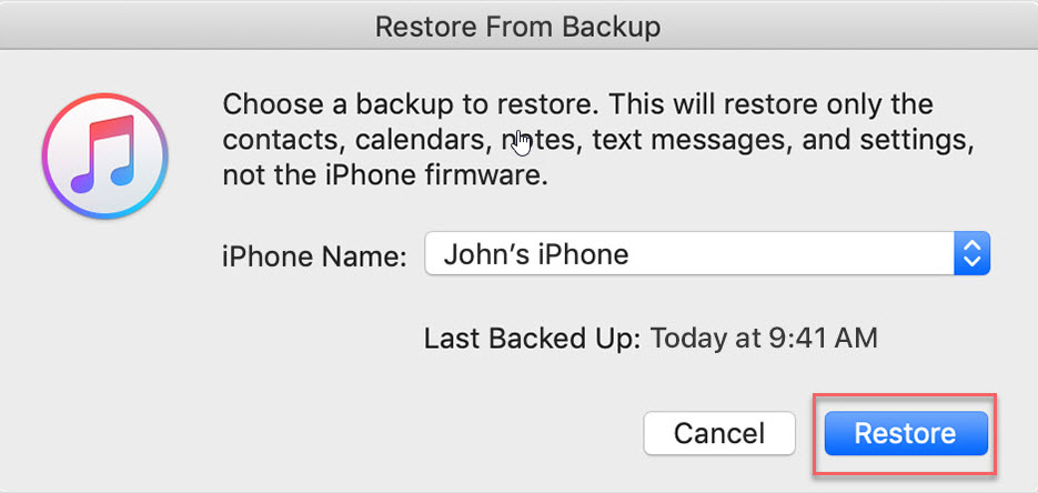 restore the latest backup