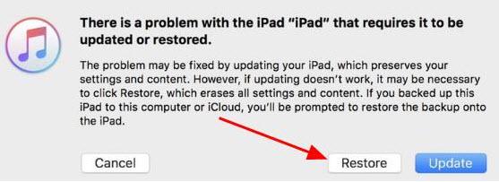 restore ipad