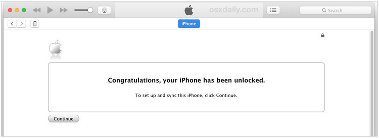 congratulations. your iPhone has been unlocked