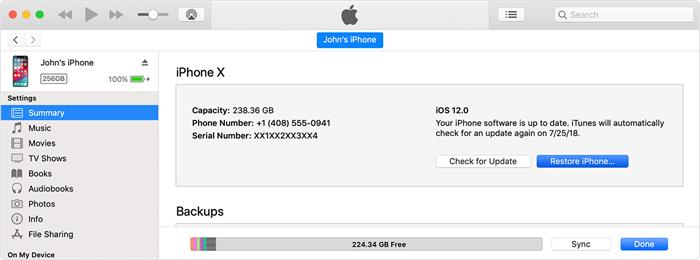 restore iPod