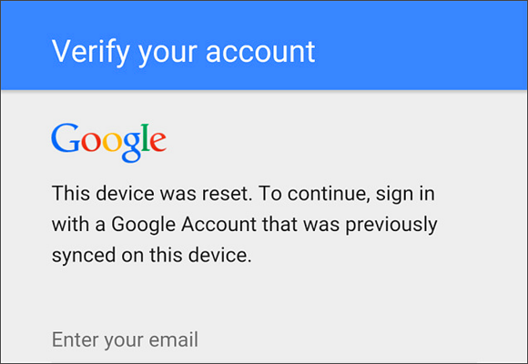 this device was reset to continue sign in with a google account bypass