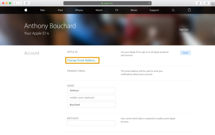 change email address