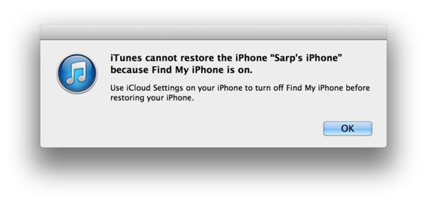 cannot restore iphone when find my iphone is on