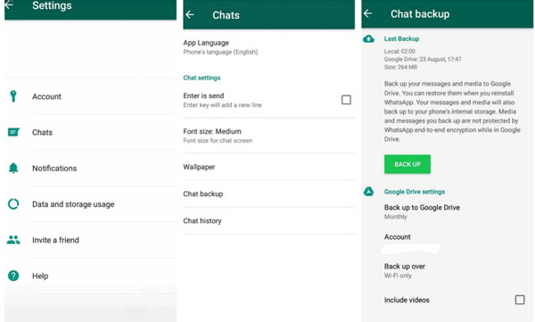 Backup WhatsApp Messages from Android to Google Drive