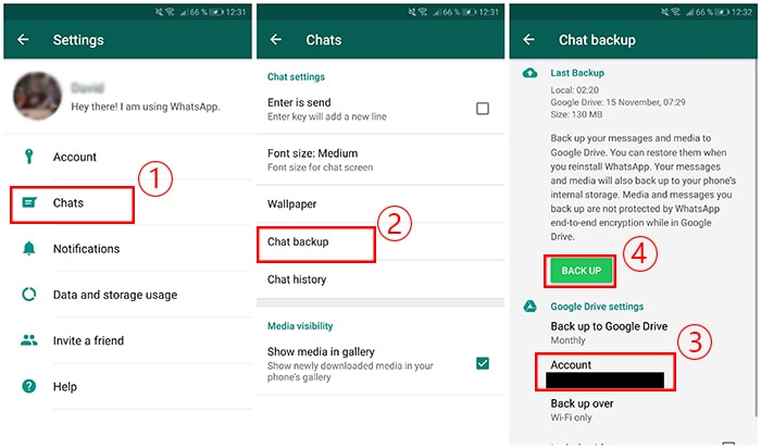 back up whatsapp to google drive