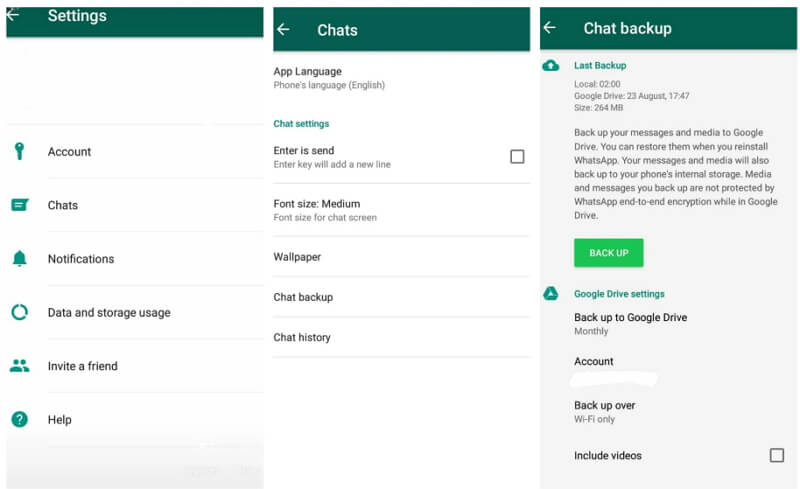 backup WhatsApp Chats via Google Drive
