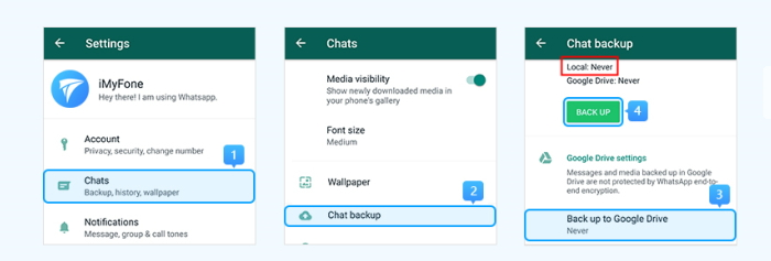 Backup WhatsApp to Android internal storage or SD card