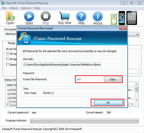 Daossoft iTunes Password Rescuer password recovered