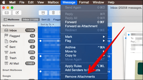 delete mail attachments mac