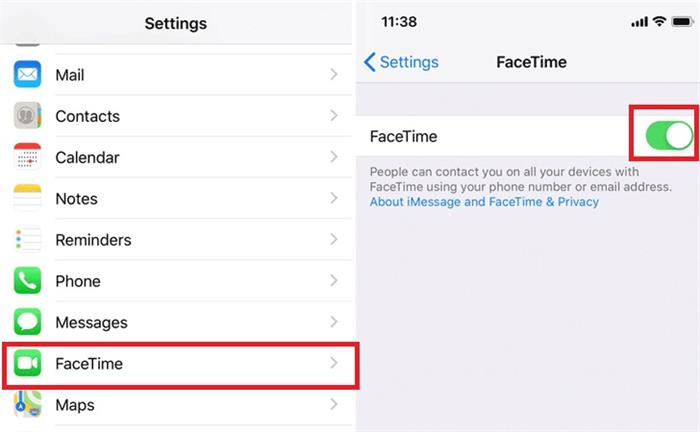 disable and enable facetime settings