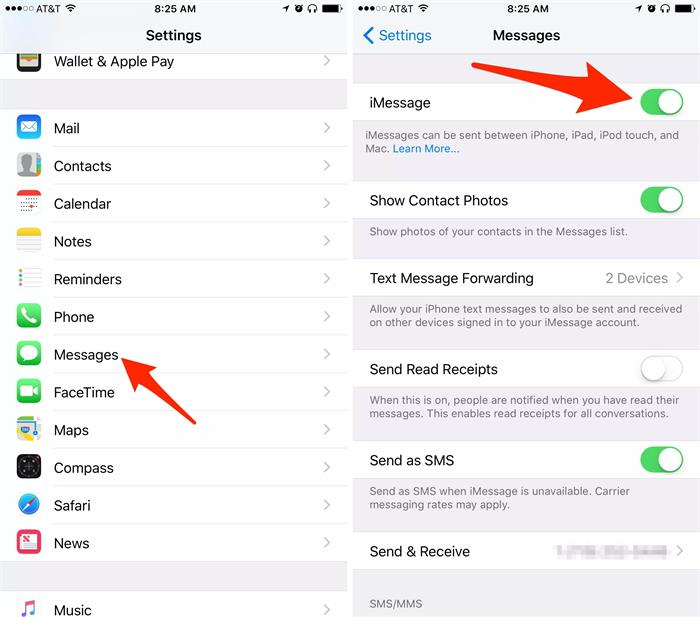 disable and enable imessage settings