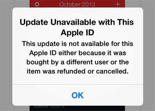 Update Unavailable with This Apple ID