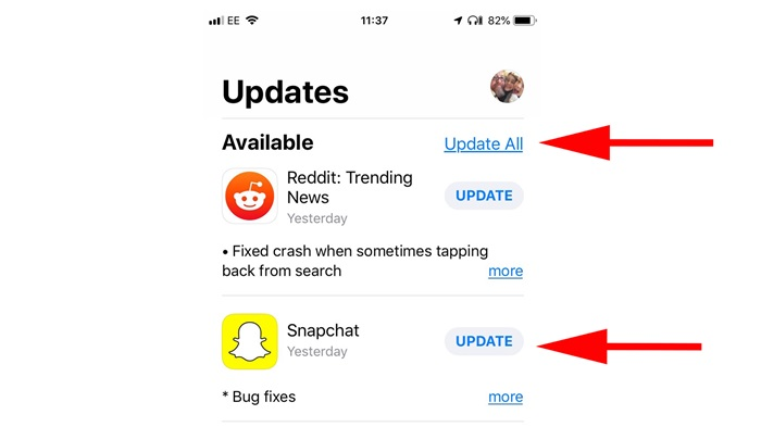 update apps from app stores