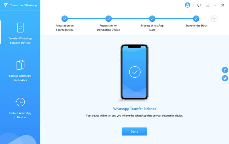 finished to transfer whatsapp to iphone