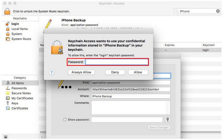 Free iTunes backup password recovery tool- KeyChain