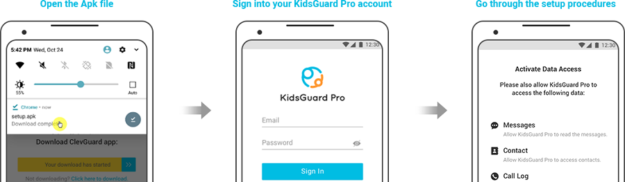 login and setup kidsguard pro