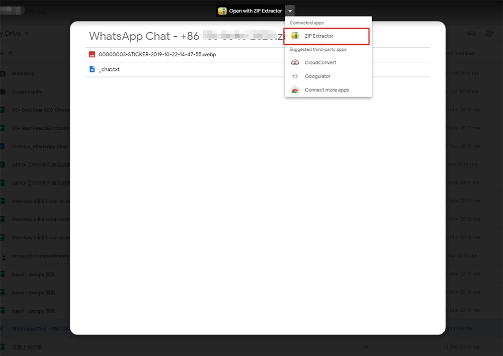 open whatsapp chat backup with zip extractor