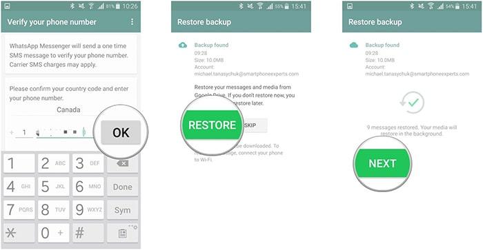 restore whatsapp from google drive