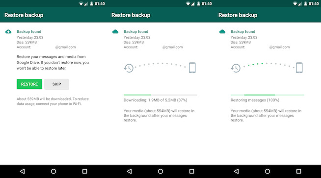 restore the WhatsApp backup via Google Drive