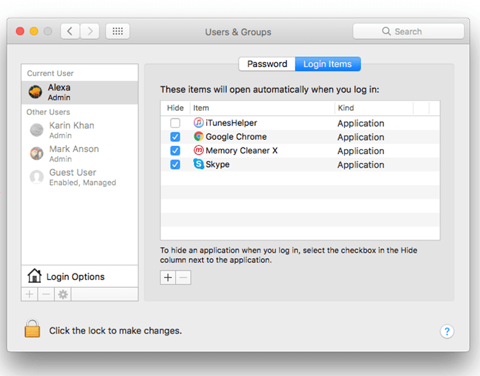 disable startup items on mac