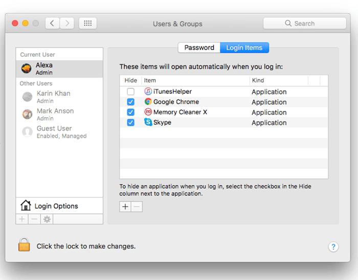 startup items mac