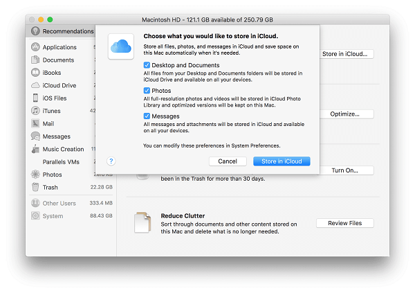 store in iCloud mac options
